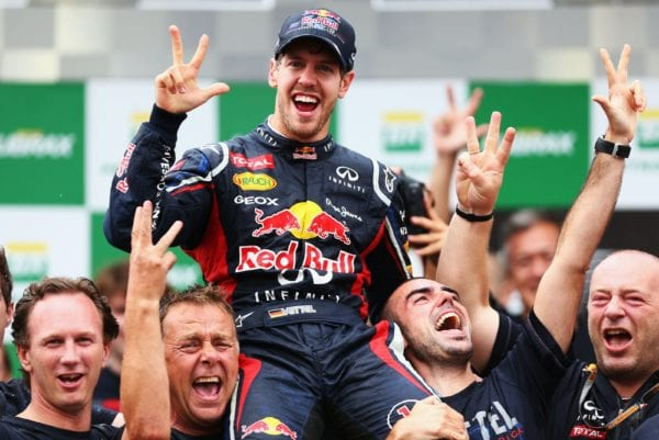 Vettel beat Alonso but had help along the way. Image Red Bull Content Pool