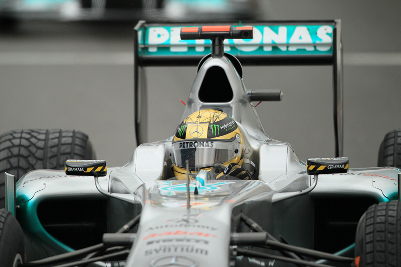 27.08.2011 The Belgium Grand Prix from the Spa-Francorchamps Circuit. Friday free practice 3 - Michael Schumacher - Mercedes